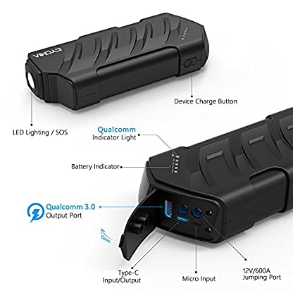 51KuMlKJ3jL. SS416  - CYCMIA Arrancador de Coche 15000mAh Jump Starter Portatil Booster Bateria 600A Peak Power Bank para Tablet Smartphone