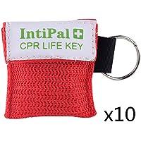 IntiPal 1/2/5/10 Stücke Beatmungsmaske Schlüsselanhänger Beatmungshilfe Notfalltuch Taschenmaske Erste Hilfe 5 Farben (10, Red)