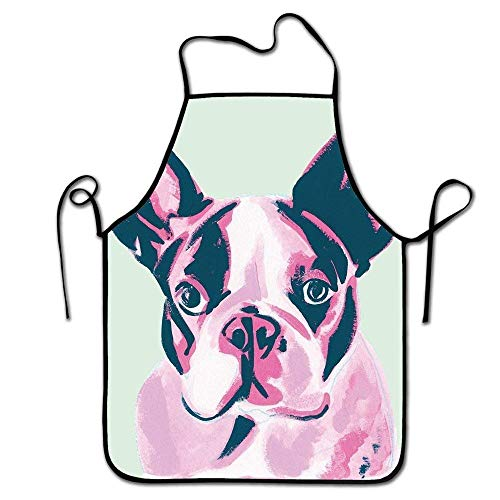 tsyhtshehs Adjustable Professional Apron Kitchen Funny French Bulldog Print Woman Aprons Comfortable Perfect for Cooking Guide -