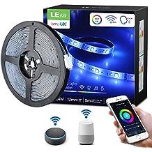 LE Ruban LED Connecté WIFI RGBW 5M 24W Étanche IP65, Ruban LED Musique, Couleurs Blanc Froid +RGB 16 Millions, Bande LED Connectée APP, Contrôlable à la Voix, Alexa/Google Home