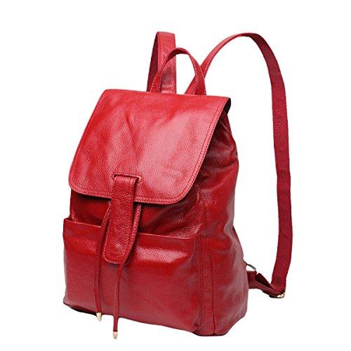 Tracolla In Pelle Di Moda Coreano Istituto Di Borsa Da Viaggio Per Il Tempo Libero Zaino Del Vento Red