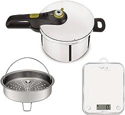 Tefal yy3081fa Schnellkochtopf Secure Neo 5und Küchenwaage, Edelstahl, Edelstahl, 45x 29x 30cm