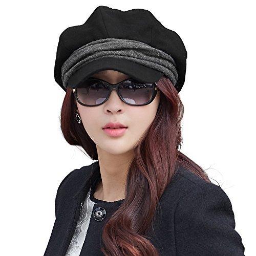 SIGGI schwarze Baumwolle Schirmmütze Baskenmütze warme Zeitungsjunge Mütze Barett Mütze Cabbie(Chauffeurmütze) Für Damen Mit Visor
