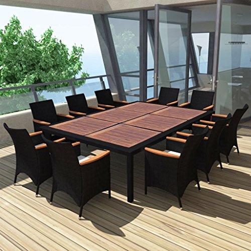 Tidyard Garten Essgruppe Poly Rattan Gartenmöbel Set Sitzgruppe Tischplatte für 12 Personen Schwarz 200×150cm