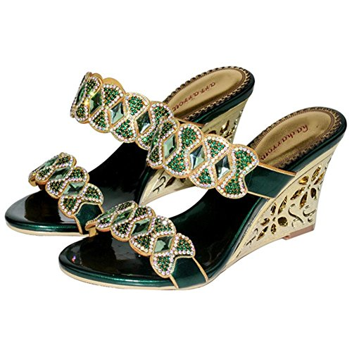 65aca5bcf3a9c7 crystal diamond slope with high heels rome sandals handmade leather women  evening banquet party nightclub pumps slippers shoes . green . 43