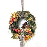 Small-Preis Türkranz Herbstkranz Rund mit Eichhörnchen Handarbeit ø 28 cm - Herbst - Willkommensgruß 332