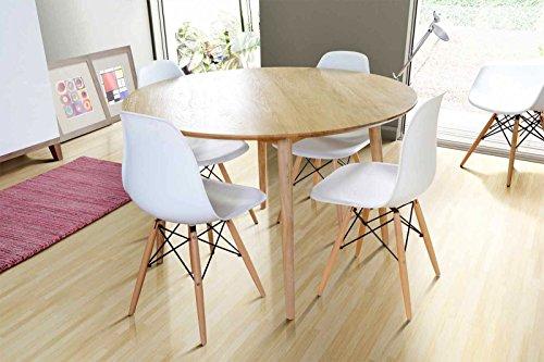 Tavolo da soggiorno Tretton ovale, in robusto legno di rovere trattato/laccato bianco, in stile vintage Retrò Round Solid Oak