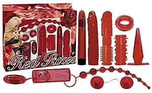 erotikparadiso Kit de 9 sex toys rouges comme l'amour et brulants comme les péchés 9 accessoires érotiques pour elle et lui : 1 vibromasseur (longueur : 17,5 cm - Diamètre : environ 2,5 cm) piles incluses - 1 godemichet souple en forme de pénis - 1 gaine à picots pour pénis et vibromasseur avec prolongation de 2 cm - 1 œuf vibrant avec câble et télécommande (longueur : 6 cm - Diamètre : environ 3 cm) piles incluses - Boules de geisha souples - 1 plug anal souple avec pied - 1 gaine à pénis avec boules et picots - 1 anneau pénien en forme de bouche - 1 chapelet thaï pour l'anus avec 10 boules - Type de produit : kit de sex toys - Couleur : rouge - Matériaux : ABS et PVC - Livraison discrète - Kit érotique / Kit pour jeux sexuels