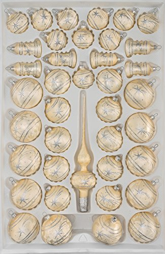 """39 tlg. Glas-Weihnachtskugeln Set in \""""Ice Champagner Silber\"""" Komet - Christbaumkugeln - Weihnachtsschmuck-Christbaumschmuck"""