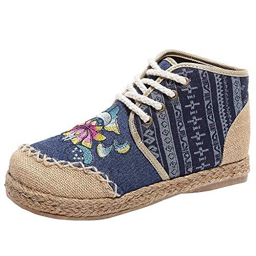 iHAZA Damen Bestickt Schuhe Beiläufig Hanfseil GewebteHigh Top Eben Knöchel Stiefel - Bestickte Wildleder Baby-stiefel