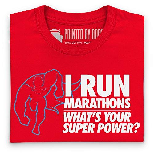 Running Marathons Super Power T-Shirt, Herren Rot