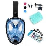 Schnorchelmaske ,Supertrip Tauchermaske mit 180-Grad-Sicht mit verstellbarem für den ganzen Kopf oder Gesicht,unterstützen Gopro Kamera, tauchermaske mit schnorchel Anti-Fog und Anti-Leck-Technologie (Schwarz/blau, S/M)