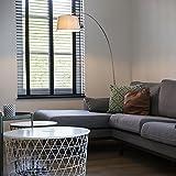 QAZQA Modern Bogenleuchte/Bogenlampe/Lampe/Leuchte Arc Stahl/Silber/nickel matt mit weißem Stoffschirm/Innenbeleuchtung/Wohnzimmer/Schlafzimmer Metall/Textil/Rund LED geeignet E27