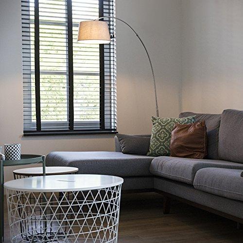 QAZQA Modern Bogenleuchte / Bogenlampe / Lampe / Leuchte Arc Stahl / Silber / nickel matt mit weißem Stoffschirm / Innenbeleuchtung / Wohnzimmer / Schlafzimmer Metall / Textil / Rund LED geeignet E27
