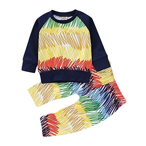 Chennie Chennie 2 stücke Baby Kleinkind Vertikale Bunte Scrawl Outfit Kinder Kleidung Set Top + Langarm Hosen Outfits (Color : Colorful, Size : 3M-6M)