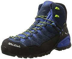 Idea Regalo - SALEWA Alp Trainer Mid Gtx, Scarpe da Arrampicata Alta Uomo, Blu/Verde (Dark Denim/Cactus 0361), 40.5 EU
