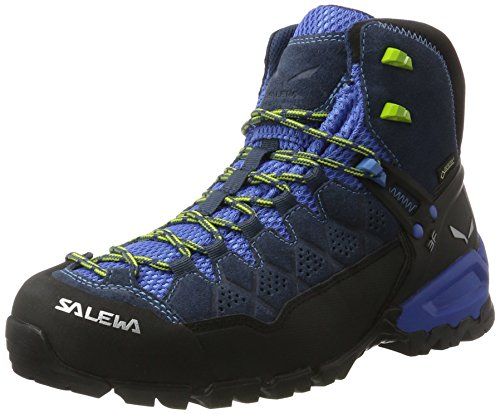 SALEWA Alp Trainer Mid Gtx, Scarpe da Arrampicata Alta Uomo, Blu/Verde (Dark Denim/Cactus 0361), 42 EU