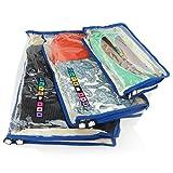 HANGERWORLD - Set da 3 organizzatori per valigia e cassetti - con zip blu