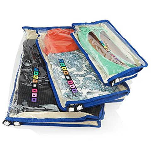 Hangerworld Set of 3 Cream Breathable Clothing Storage Travel Bags with Clear Front & Blue Trim - Great Suitcase & Luggage