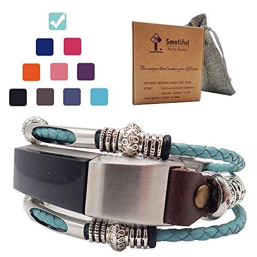Smatiful Uhr Original Armband Zubehör mit Schutz Tasche für Damen und Herren, Verstellbar Leder (Not Silikon) Ersatz Sport Watch Band for Fitbit Alta & Alta HR, Tiffany (Valentine-silikon-armbänder)