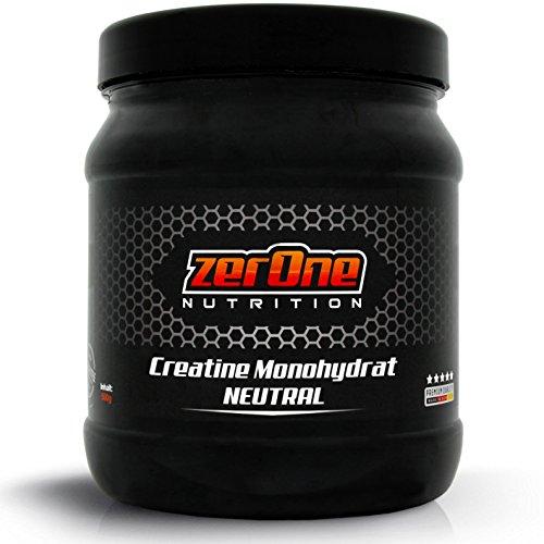ZerOne Nutrition Creatin Monohydrat Hochdosiertes Pulver   Deutsche Premium Qualität   Vegan   Kristallines Pulver   500g Reines Kreatin