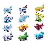 Habba-Babba Holz Flugzeug / Gleiter / Helikopter / Flieger / Düsenjet für Kinder / Motorik Holz Fahrzeuge Spielzeug 2Stk bunt ab 4 Jahre