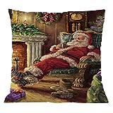 Vovotrade Baumwolle Leinen Weihnachten Kissenbezug Weihnachtsmann Weihnachtsbaum Elch Muster Kissenhülle Sofa Auto Wurf Kissenbezug Home Decor