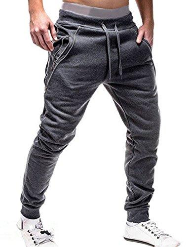 SOMTHRON Hombre Cinturón de Cintura elástico Pantalones de chándal de algodón Largo Jogging Pantalones de Carga Deportiva de Talla Grande Pantalones Cortos con Bolsillos Pantalones (DG1-XL)