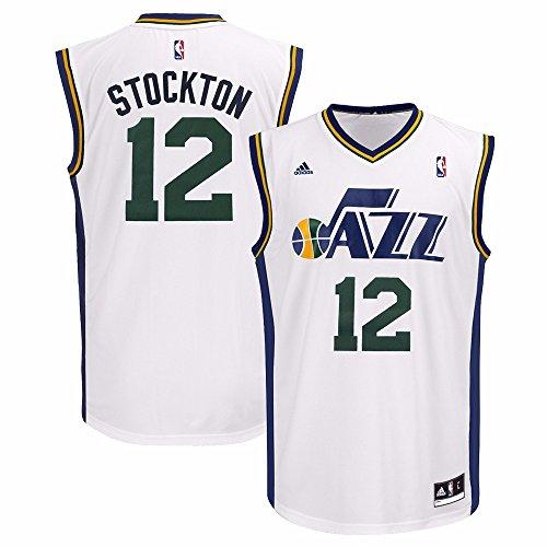 John Stockton Utah Jazz NBA Adidas Herren Weiß Replica Jersey, Herren, weiß