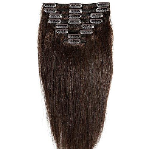 """16"""" 8pz Capelli Umani Naturali Veri Remy Human Hair Extension con Clips Testa Intera Capelli Lisci"""
