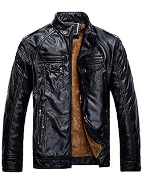 ZKOO Hombre Vellón Forrado Chaqueta De Cuero De Imitación Corta Moto Jacket Cazadora Abrigo Ajustado Caliente...