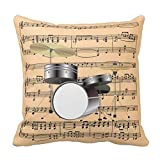 FAFANIQ Fashion Decorative 18In * 18In of Creative Home Famous Style Bedding Sofa Cushion Cover Pillowcase Drum Set W/Sheet Music Background Musical Instru Throw Pillows