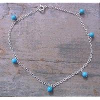 Sterling Silber Fußkettchen mit türkisfarbenen Perlen