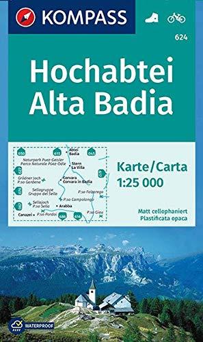 Carta escursionistica n. 624. Alta Badia-Hochabtei 1:25.000. Adatto a GPS. Digital map. DVD-ROM: Wandelkaart 1:25 000
