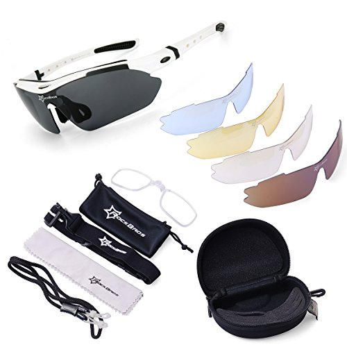 ROCKBROS Cycling Sunglasses -Sports outdoor polarised Sunglasses -White 100% UVA UVB Eye Protection Glasses 5 Lens for Outdoor Sports like Running Trekking Casual Driving Hiking Skiing Surfing Shooting Fishing, [Importado de UK]