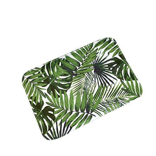 Haodou Teppiche Teppich Polyesterfaser Bodenmatte Blätter Muster Verdicken Platz Schmutzfangmatte Rutschfeste Waschbar Fußmatte für Küche Badezimmer 40 * 60 * 0.7cm (Stil D) -