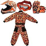 Leopard LEO-X17 Naranja Casco de Motocross para Niños (XL 55cm) + Gafas + Guantes (XL 8cm) + Camo Traje de Motocross para Niños - XL (11-12 Años)