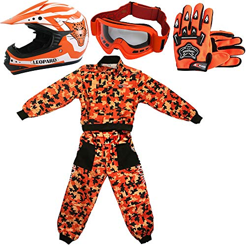 Leopard LEO-X17 Casco da Motocross per Bambini + Occhiali + Guanti + Tuta da Motocross per Bambini, Completo da Uomo S (5-6 Anni), Arancia - Casco&Guanti M