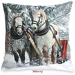 Quinnyshop Housse de Coussin Douce de Noël avec Impression Photo Env. Ligne de Cheval Romantique en Polyester 40 x 40 cm
