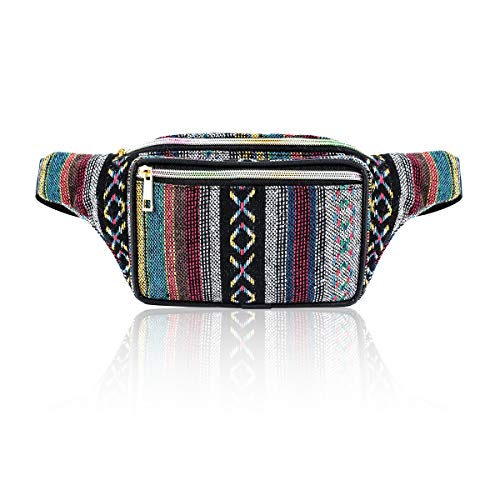 Deeplive Fanny Pack Boho Stripe Waist Pack Bag for Men Women Hip Bum Bag with Adjustable Strap for Outdoors W (No1) Christmas Free Cell