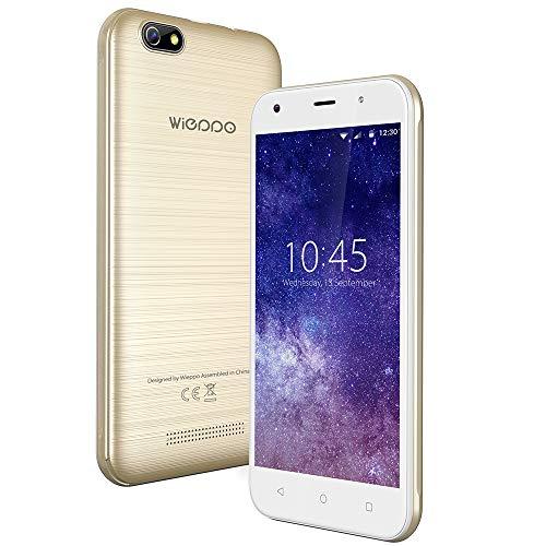 "Smartphone ohne vertrag 3G, Wieppo S5 Dual SIM Handys mit 5 Zoll HD 1280 * 720 Display, Kamera 8MP+5MP, 1GB RAM 8GB ROM, Android 7.0, 2400mAh Akku (3G 5"" 1G+8G Gold)"