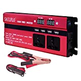 Invertitore di Potenza 1000 W convertitore DC 12 V a V AC 220 V Power Inverter, Convertitore auto / batteria / Solar Power con 3 prese CA e 4 porte USB
