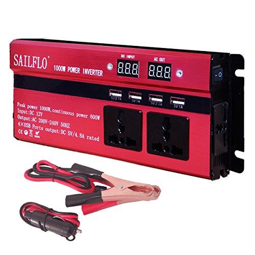 Preisvergleich Produktbild SAILFLO 1000W Wechselrichter,  Digital anzeige Spannungswandler DC 12V auf AC 220V / 230V / 240V Steckdose,  Auto / Batterie / Solar Strom wandler Konverter mit 3 AC Steckdosen & 4 USB Ports