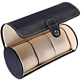 Smartcraft Travel Leatherette Watch Case - 3 Slots,Travel Watch Organizer Watches Case Leatherette Roll Watch Storage Pouch Jewelry Box 3-Slots (Black/Brown)