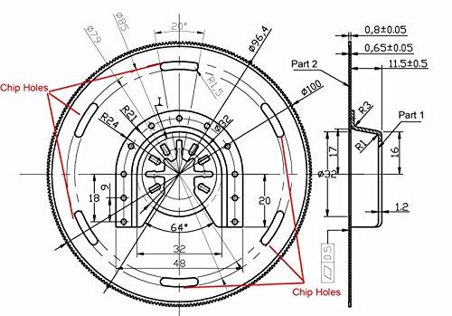 Kreissägeblatt für Metall, Laminat, Parkett, Holz, Kunststoff. Multimaster Sägeblatt 100mm. Metallsägeblatt, Holzsägeblatt passt zu Fein, Bosch u.a. 10er-SET