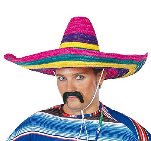 shoperama Bunter Stroh Sombrero 50 cm mexikanischer Hut groß Mexikaner Mexiko Kopfbedeckung Kostüm-Zubehör (Stroh Hut Kostüm)