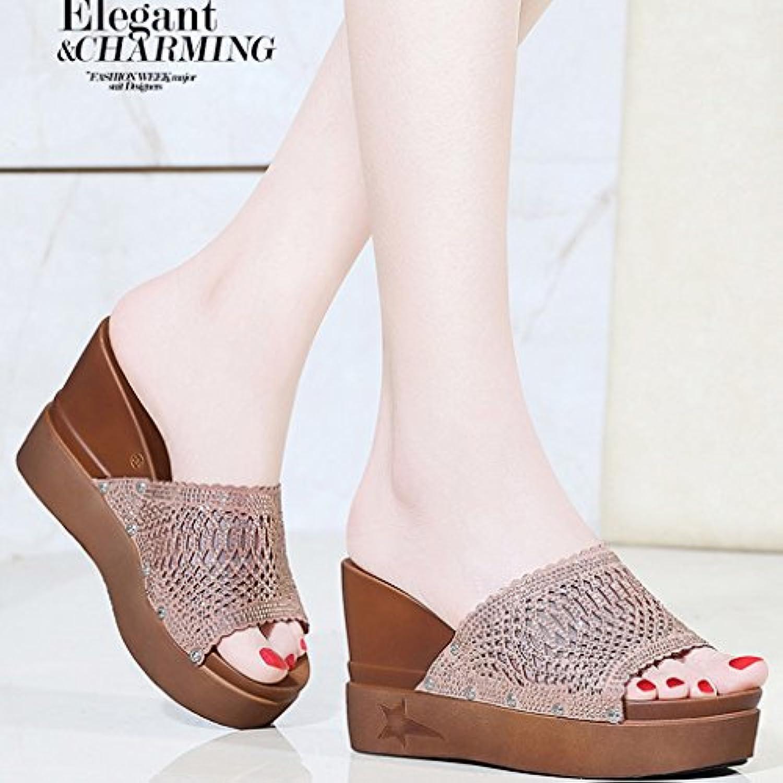Sandalias De Las Mujeres Del Verano Cuero Genuino Medio Sexy Peep Toe Zapatos De Tacón Grueso Talones De Diamantes... -