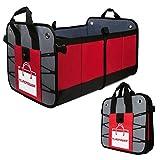 Organiseur de coffre de voiture, sac de rangement Flagpower à plusieurs compartiments pour voitures SUV, monospace, camion, etc. (rouge et noir)