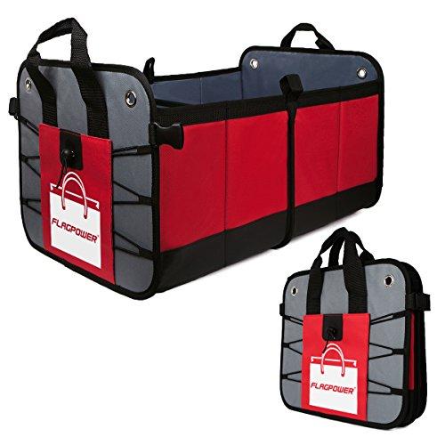 FLAGPOWER Auto Kofferraumtasche KFZ Aufbewahrungstasche Universal faltbare Auto Kofferraum Organizer rutschfest Kofferraumtasche + Multi-Abteil für Auto SUV Minivan (Rot & Schwarz) (Rot) (Kofferraum)