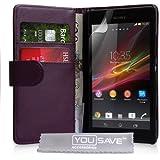 Yousave Accessories Etui portefeuille en PU cuir pour Sony Xperia SP Pourpre
